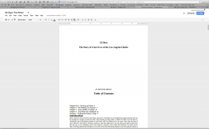 My Novel in Edit Mode in Google Docs